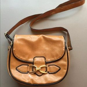 London Fog Saddlebag Crossbody Purse Tan